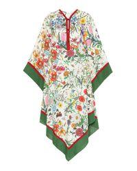 Robe imprimée en lin Gucci en coloris Multicolor