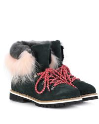 Mr & Mrs Italy Green Fur-trimmed Leather Ankle Boots