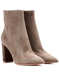 Gianvito Rossi Brown Exklusiv bei Mytheresa – Ankle Boots Piper 85 aus Veloursleder