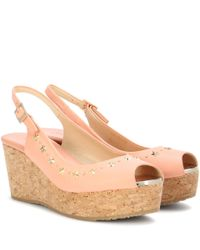Jimmy Choo Pink Praise Embellished Leather Wedges
