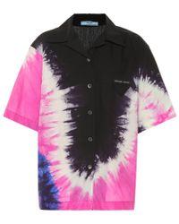 Camicia a stampa tie-dye in cotone di Prada in Black