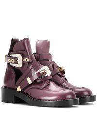 Balenciaga Purple Ceinture Leather Derby Boots