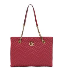 Gucci - Red GG Marmont Medium Matelassé Leather Tote - Lyst