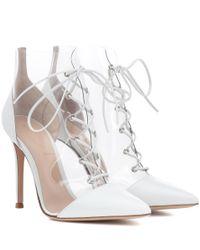Gianvito Rossi White Transparente Ankle Boots Icon mit Leder