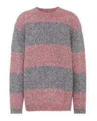 Acne Gray Albah Striped Alpaca-blend Sweater