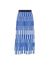 Tory Sport Blue Motley-check Pleated Knit Skirt