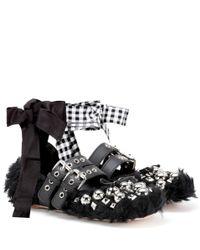 Miu Miu Black Faux Fur Ballerinas