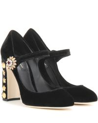 Dolce & Gabbana Black Exclusive To Mytheresa.com – Embellished Velvet Pumps