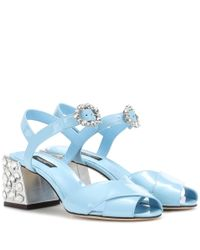 Dolce & Gabbana Blue Embellished Patent Leather Sandals