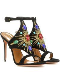 Aquazzura - Black Desert Sun 105 Embellished Suede Sandals - Lyst