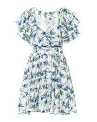 Vestido corto de lino floral Gül Hürgel de color Blue