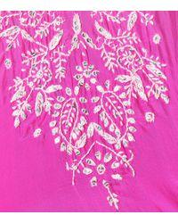 Cafetan brodé en soie à ornements Juliet Dunn en coloris Pink