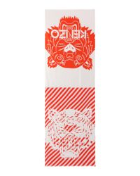 KENZO - Red Printed Cotton-blend Scarf - Lyst