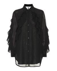 Givenchy Black Ruffled Silk-blend Blouse