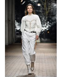 Top Lyneth in cotone con pizzo di Isabel Marant in White