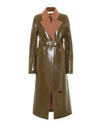 Cappotto in lana e vinile di Victoria Beckham in Green