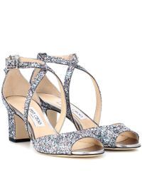 Jimmy Choo Multicolor Carrie 65 Glitter Sandals