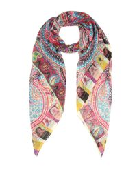 Etro - Multicolor Printed Wool And Silk Scarf - Lyst