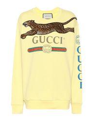 Sudadera de algodón adornada Gucci de color Yellow
