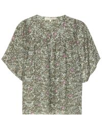 Vanessa Bruno - Green Printed Silk Blouse - Lyst