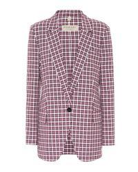 Burberry Purple Karierter Blazer aus Baumwolle