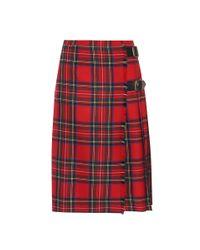 Falda de lana a cuadros Burberry de color Red