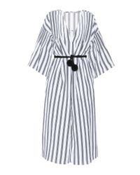Three Graces London White Linen And Cotton Dress
