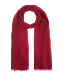 Isabel Marant Red Woody Houndstooth Wool Scarf