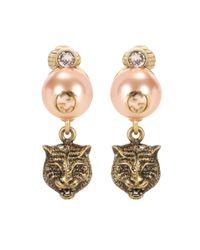 Gucci - Metallic Feline Earrings - Lyst