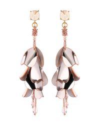 Oscar de la Renta Metallic Beaded Earrings