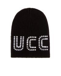 Gucci Black Mütze aus Wolle mit Guccy-Motiv und Kristallen