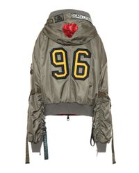 Dolce & Gabbana Green Bomber Jacket With Appliqué