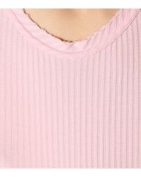 Helmut Lang Pink Ribbed Cotton T-shirt