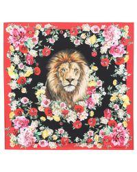 Dolce & Gabbana Red Floral-printed Silk Scarf