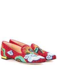 Charlotte Olympia Red Dragon Woven Loafers