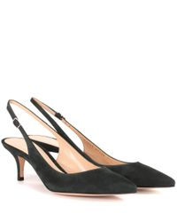 Gianvito Rossi - Green Jackie Suede Sling-back Pumps - Lyst
