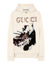Sweat-shirt à capuche en coton à ornements Gucci en coloris White