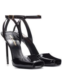 Saint Laurent - Black Edie 110 Patent Leather Sandals - Lyst