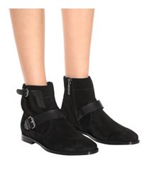 Saint Laurent - Black Matt 10 Suede Ankle Boots - Lyst