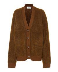 Cardigan en mohair et laine Rives Acne en coloris Brown