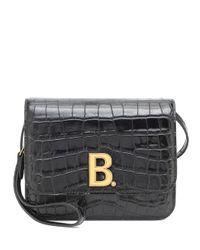 Bolso B. Small de piel efecto coco Balenciaga de color Black