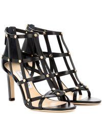 Jimmy Choo - Black Tina 85 Metallic Leather Sandals - Lyst