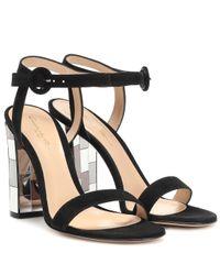 Gianvito Rossi Black Verzierte Sandalen aus Veloursleder