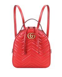 Gucci Red Rucksack GG Marmont aus Leder