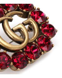 Gucci Metallic Brosche mit Kristallen