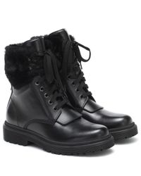 Moncler Black Patty Leather Ankle Boots
