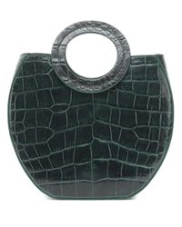 Staud Green Frida Croc-effect Leather Tote