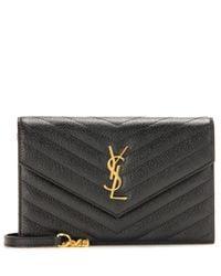 Saint Laurent Black Classic Monogram Quilted Leather Shoulder Bag