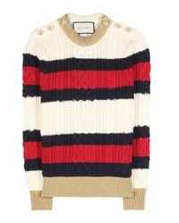 Pull en laine torsadée à rayures Gucci en coloris Red