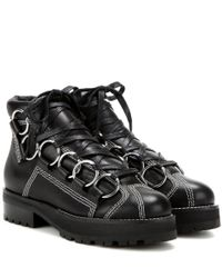 Opening Ceremony Black Embellished Leather Ankle Boots